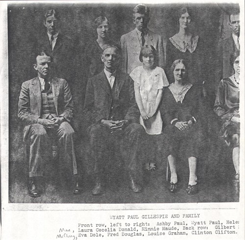 The family of Wyatt Paul and Laura Cecile Donald Gillespie