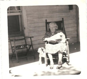 Granny Laura and her Dog, about 1950.  Granny was 73 years old.  This looks like it was taken at 108 Houston Street, Lexington, Virginia.
