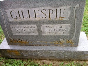 Gravestone of Wyatt Paul Gillespie and Laura Donald Gillespie; Stonewall Jackson Cemetery, Lexington, Virginia