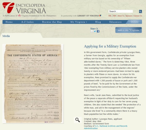 Applying for a Military Exemption article on Encyclopedia Virginia