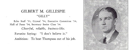 Gilbert McClung Gillespie from the 1934 Crystal, the yearbook of Lexington High School.  Senior Picture.