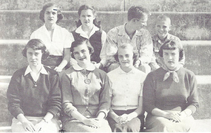 Honor Court, Lexington High School 1954, Martha Spencer and Gil Gillespie, in the back row