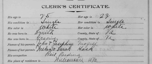 Frank and Clara's marriage record: bottom portion