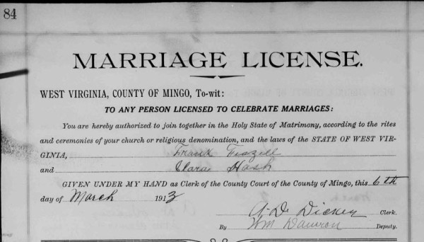 Frank Feazell and Clara Hash marriage record