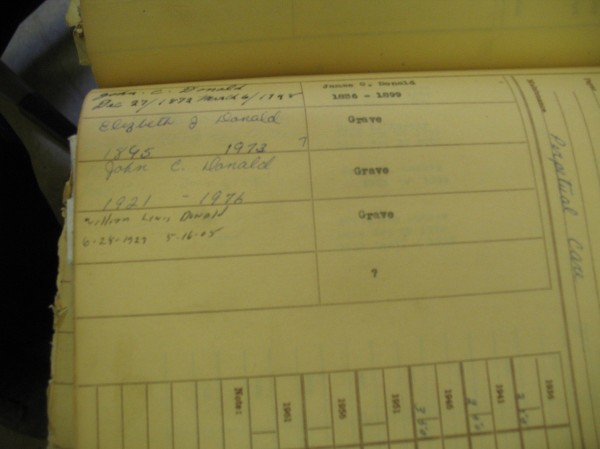 page from donald burial records at stonewall jackson cemetery